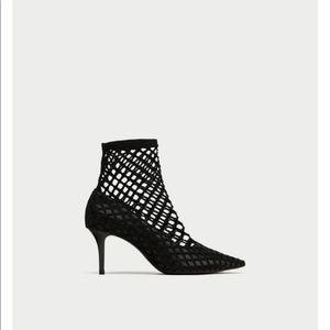 Zara mesh fishnet ankle bootie heel 7.5 NWT